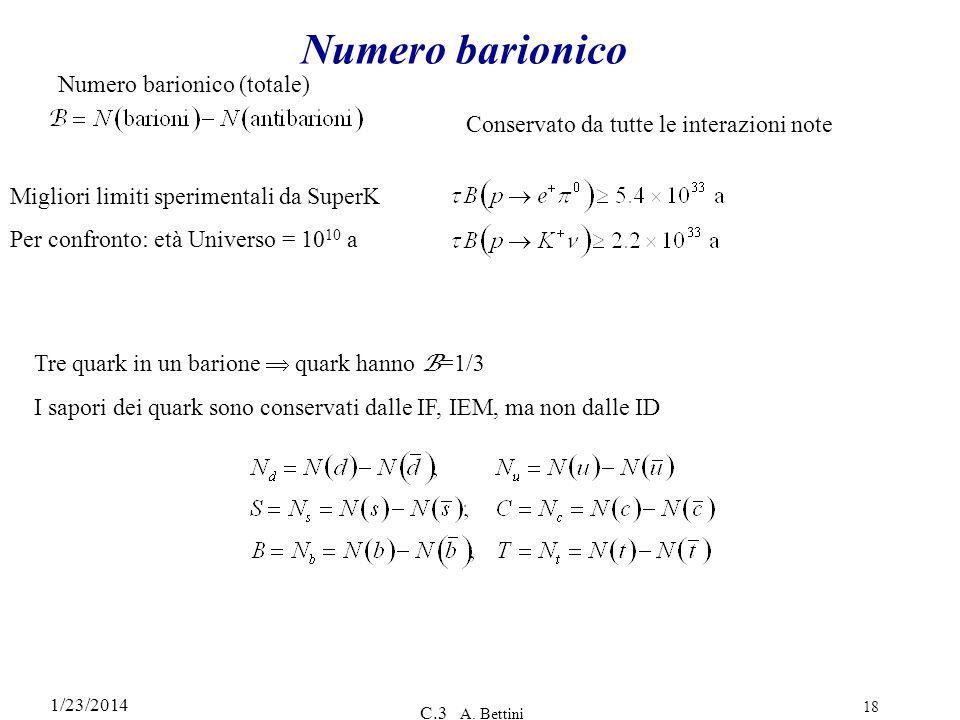 1/23/2014 C.3 A. Bettini 18 Numero barionico Conservato da tutte le interazioni note Numero barionico (totale) Tre quark in un barione quark hanno B =