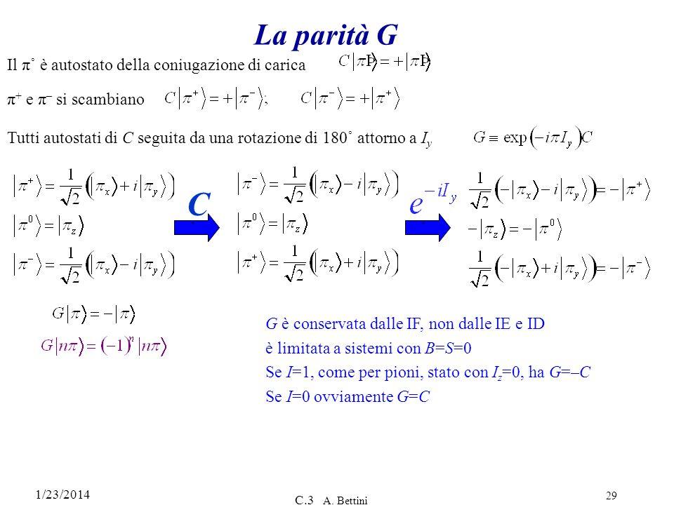 1/23/2014 C.3 A. Bettini 29 La parità G Il π˚ è autostato della coniugazione di carica ` π + e π – si scambiano Tutti autostati di C seguita da una ro