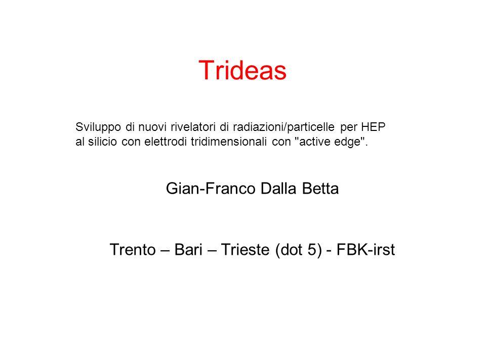 Trideas Trento – Bari – Trieste (dot 5) - FBK-irst Sviluppo di nuovi rivelatori di radiazioni/particelle per HEP al silicio con elettrodi tridimensionali con active edge .
