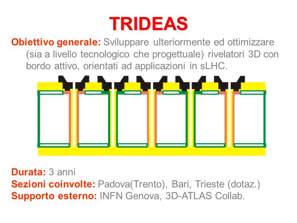 TRIDEAS Obiettivo generale: Sviluppare ulteriormente ed ottimizzare (sia a livello tecnologico che progettuale) rivelatori 3D con bordo attivo, orientati ad applicazioni in sLHC.