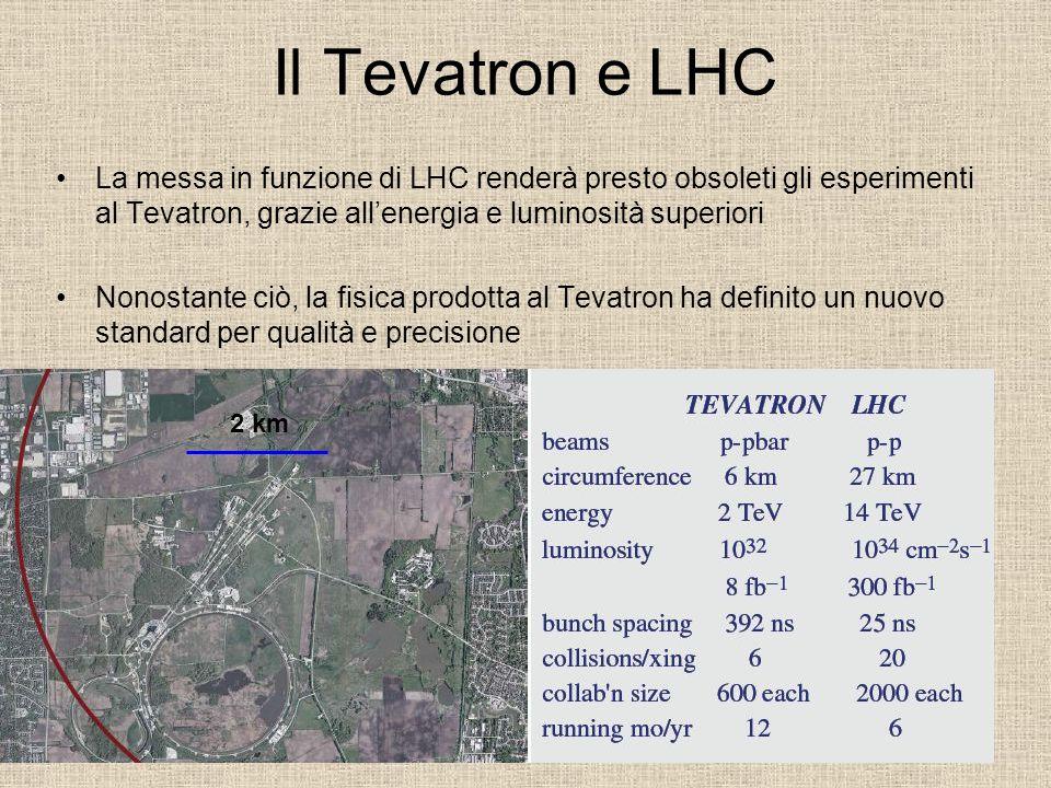 Il Tevatron e LHC La messa in funzione di LHC renderà presto obsoleti gli esperimenti al Tevatron, grazie allenergia e luminosità superiori Nonostante