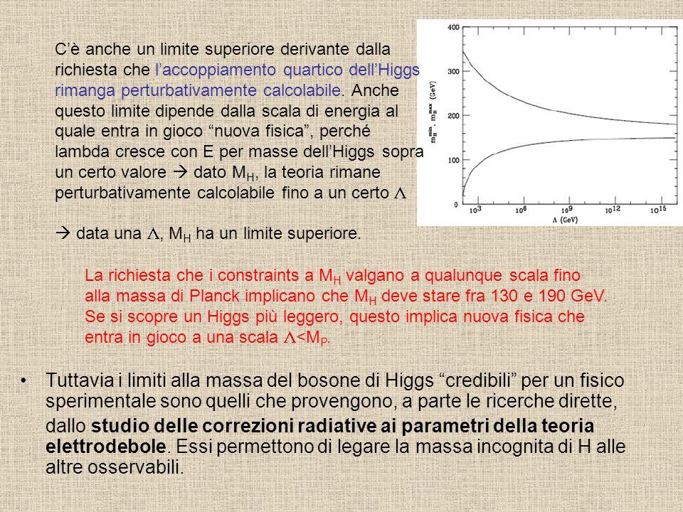 Tuttavia i limiti alla massa del bosone di Higgs credibili per un fisico sperimentale sono quelli che provengono, a parte le ricerche dirette, dallo s