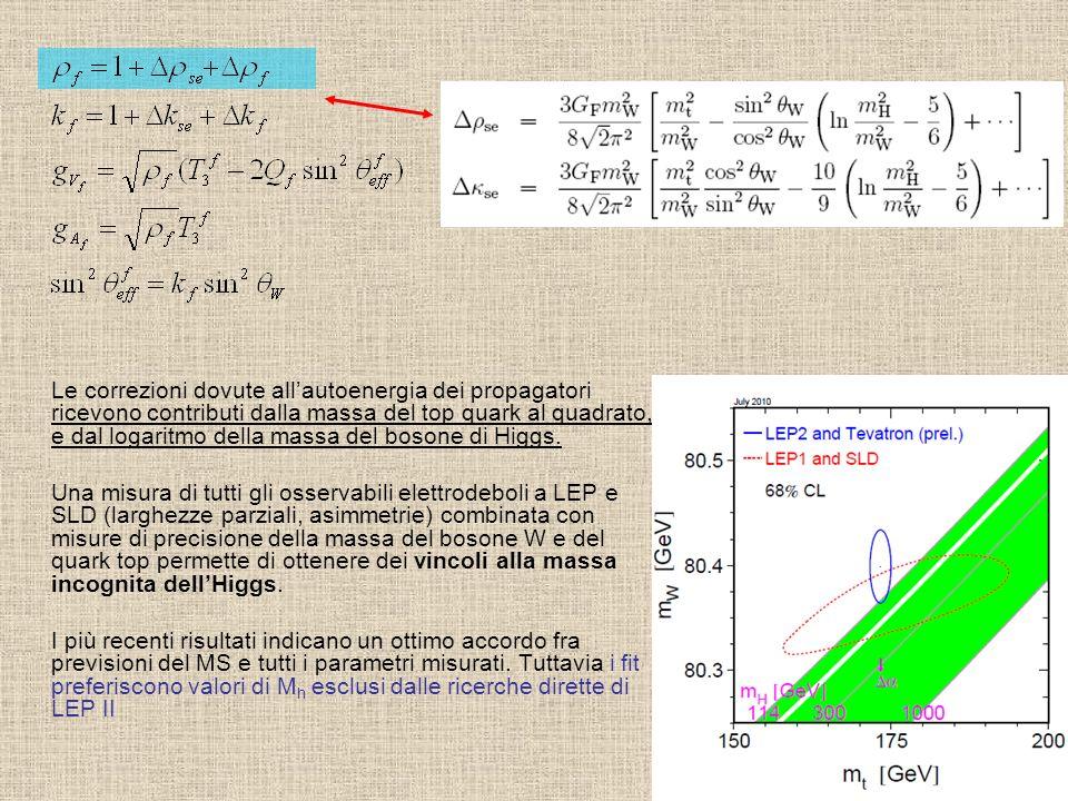 Le correzioni dovute allautoenergia dei propagatori ricevono contributi dalla massa del top quark al quadrato, e dal logaritmo della massa del bosone
