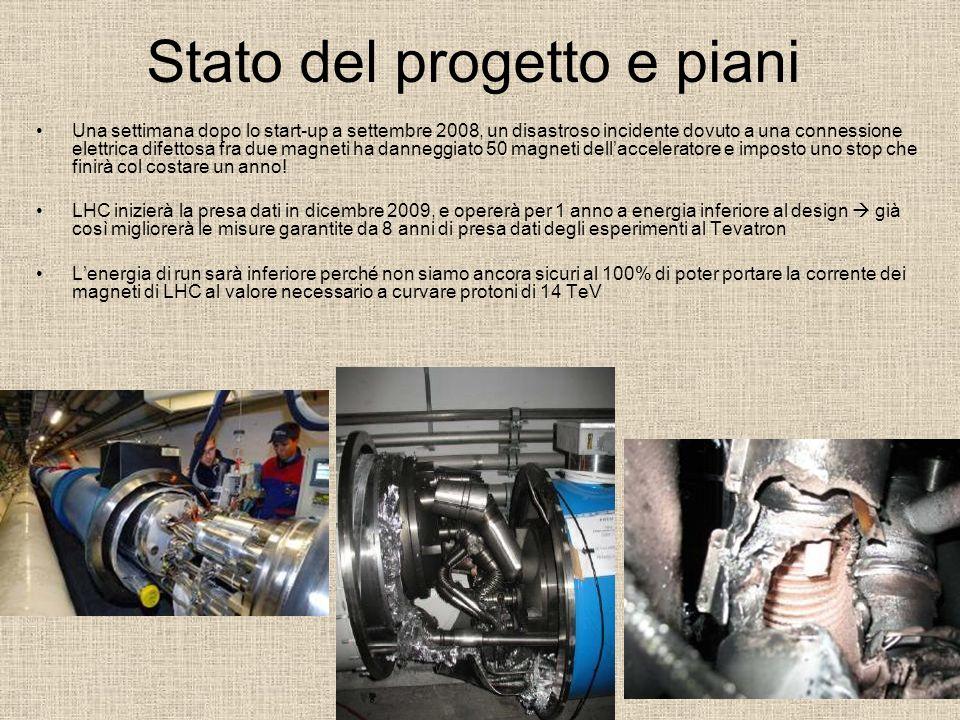 Stato del progetto e piani Una settimana dopo lo start-up a settembre 2008, un disastroso incidente dovuto a una connessione elettrica difettosa fra d