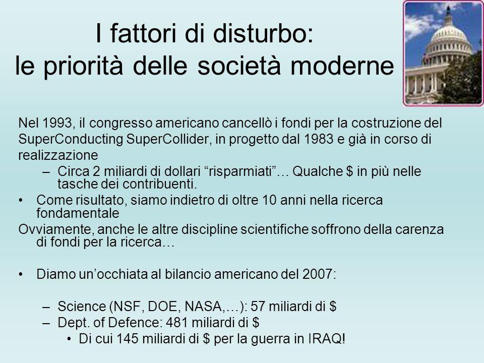 I fattori di disturbo: le priorità delle società moderne Nel 1993, il congresso americano cancellò i fondi per la costruzione del SuperConducting Supe