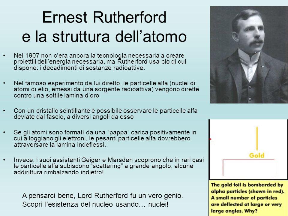 Ernest Rutherford e la struttura dellatomo Nel 1907 non cera ancora la tecnologia necessaria a creare proiettili dellenergia necessaria, ma Rutherford