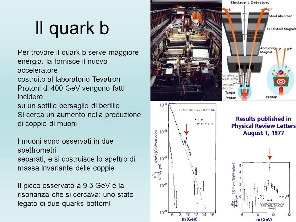 Il quark b Per trovare il quark b serve maggiore energia: la fornisce il nuovo acceleratore costruito al laboratorio Tevatron Protoni di 400 GeV vengo