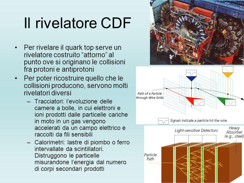Il rivelatore CDF Per rivelare il quark top serve un rivelatore costruito attorno al punto ove si originano le collisioni fra protoni e antiprotoni Pe