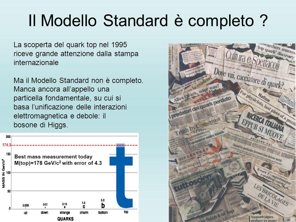 Il Modello Standard è completo ? La scoperta del quark top nel 1995 riceve grande attenzione dalla stampa internazionale Ma il Modello Standard non è