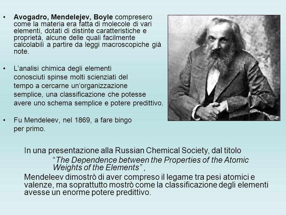 Ecco quello che Mendeleev riesce a mostrare: Gli elementi, se organizzati secondo la massa atomica, mostrano una periodicità nelle loro proprietà fisico-chimiche Larrangiamento di elementi in gruppi in ordine di massa atomica corrisponde alle loro valenze La classificazione degli elementi nuovi permette di prevedere lesistenza di elementi ancora non scoperti, e le loro proprietà.