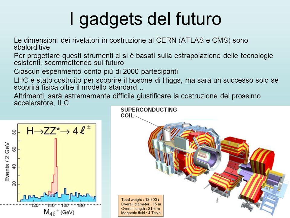 I gadgets del futuro Le dimensioni dei rivelatori in costruzione al CERN (ATLAS e CMS) sono sbalorditive Per progettare questi strumenti ci si è basat