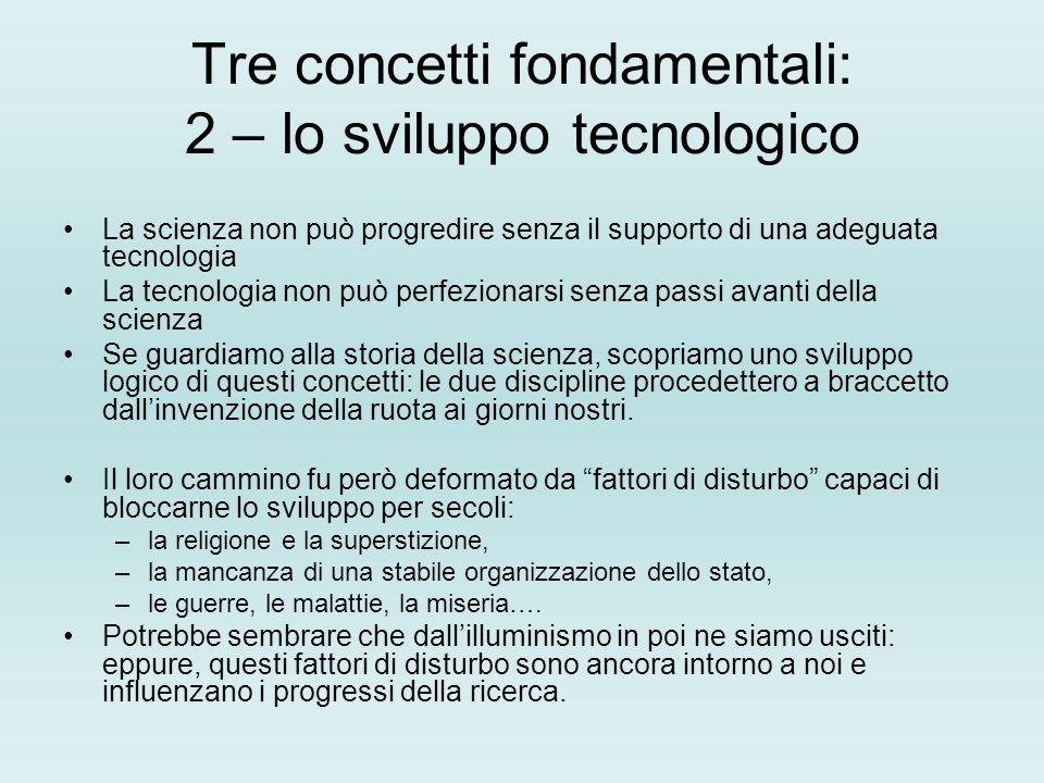 Tre concetti fondamentali: 2 – lo sviluppo tecnologico La scienza non può progredire senza il supporto di una adeguata tecnologia La tecnologia non pu