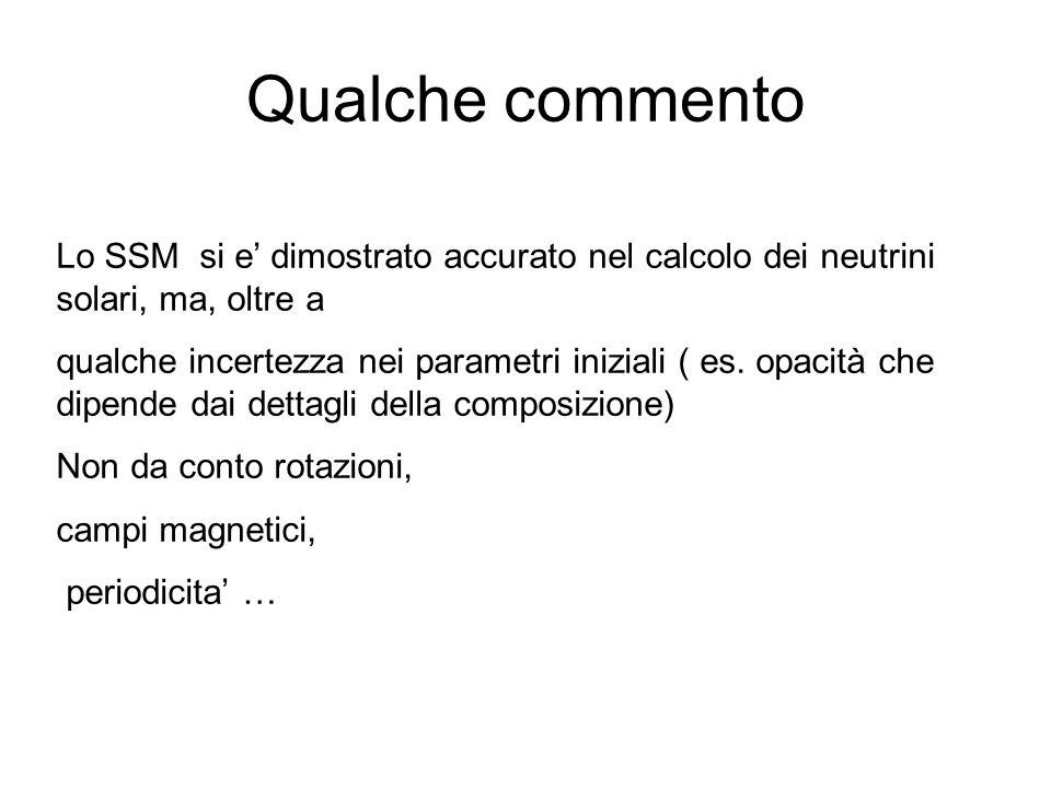 Qualche commento Lo SSM si e dimostrato accurato nel calcolo dei neutrini solari, ma, oltre a qualche incertezza nei parametri iniziali ( es. opacità