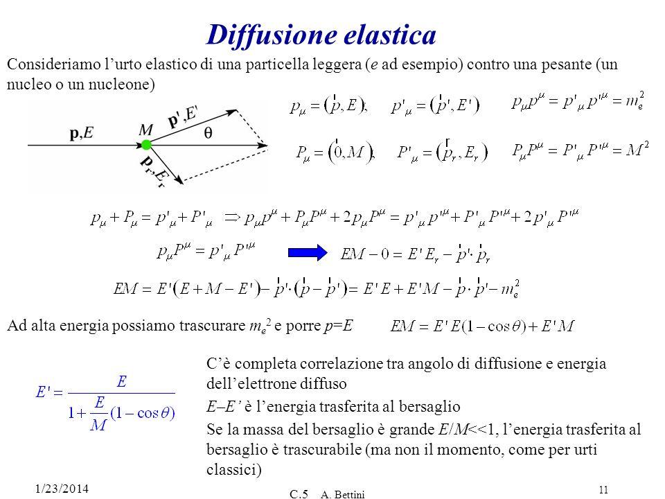 1/23/2014 C.5 A. Bettini 11 Diffusione elastica Consideriamo lurto elastico di una particella leggera (e ad esempio) contro una pesante (un nucleo o u