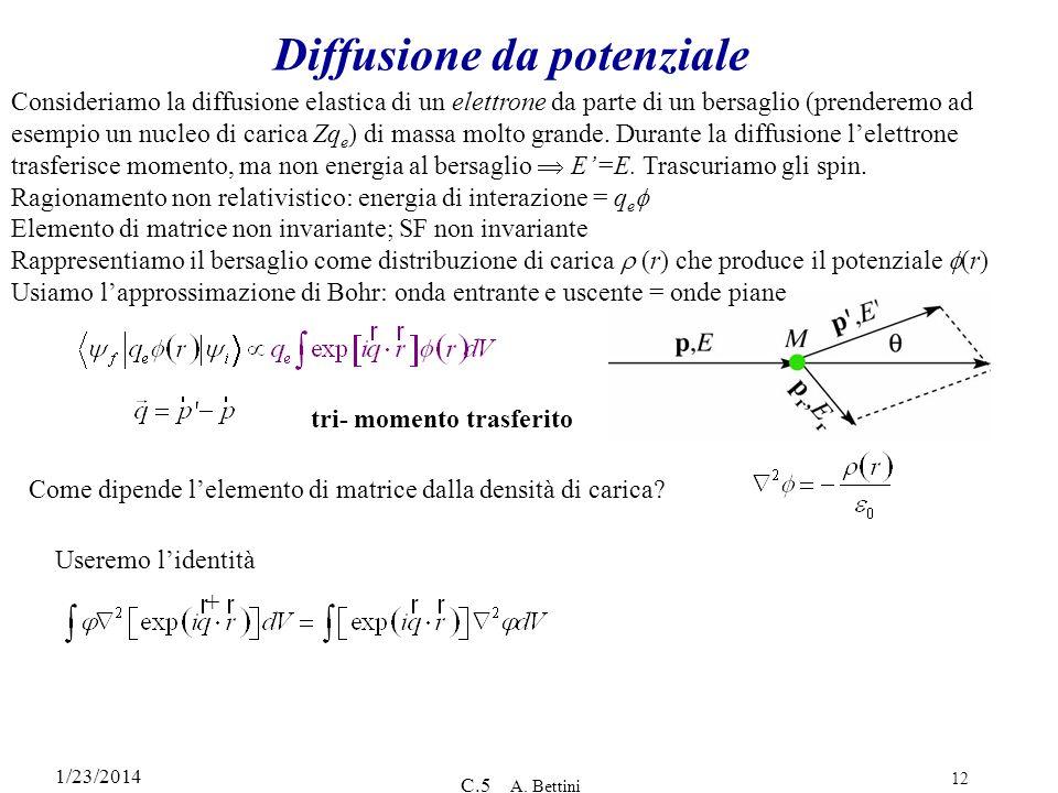 1/23/2014 C.5 A. Bettini 12 Diffusione da potenziale Consideriamo la diffusione elastica di un elettrone da parte di un bersaglio (prenderemo ad esemp