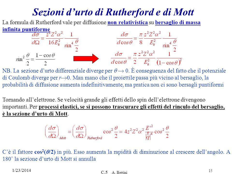 1/23/2014 C.5 A. Bettini 15 Sezioni durto di Rutherford e di Mott NB. La sezione durto differenziale diverge per 0. È conseguenza del fatto che il pot