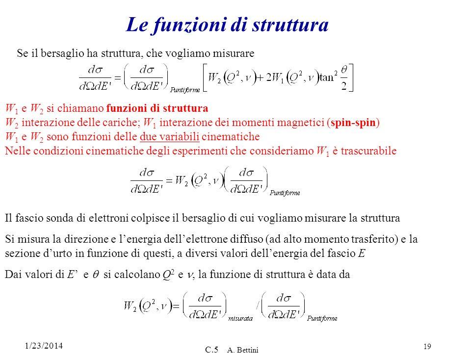 1/23/2014 C.5 A. Bettini 19 Le funzioni di struttura W 1 e W 2 si chiamano funzioni di struttura W 2 interazione delle cariche; W 1 interazione dei mo