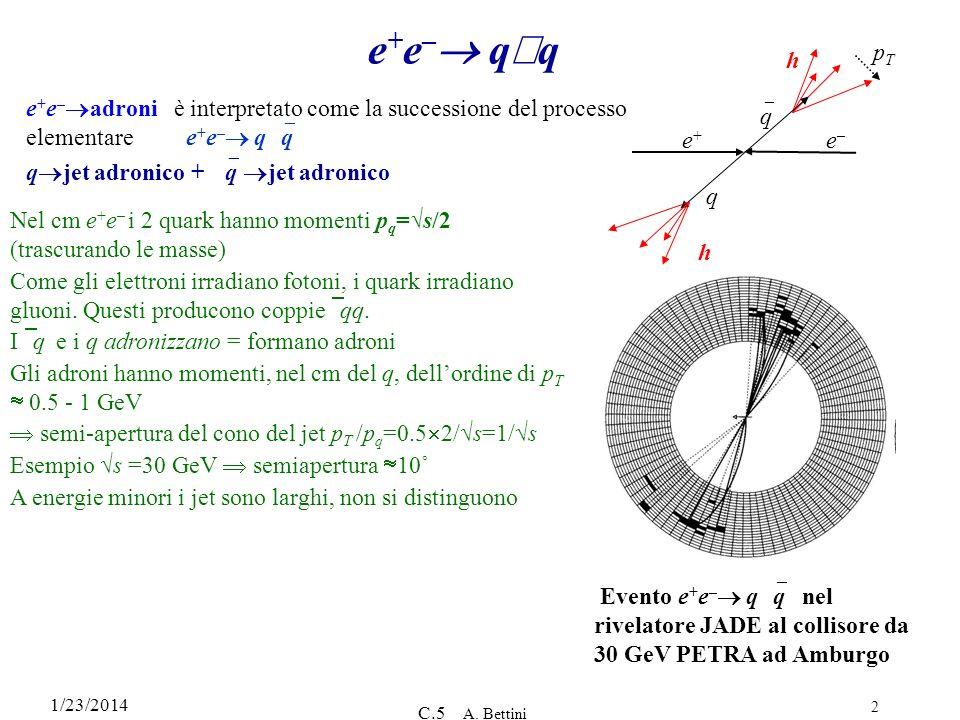 1/23/2014 C.5 A. Bettini 2 e + e – q q e + e – adroni è interpretato come la successione del processo elementaree + e – q q q jet adronico + q jet adr