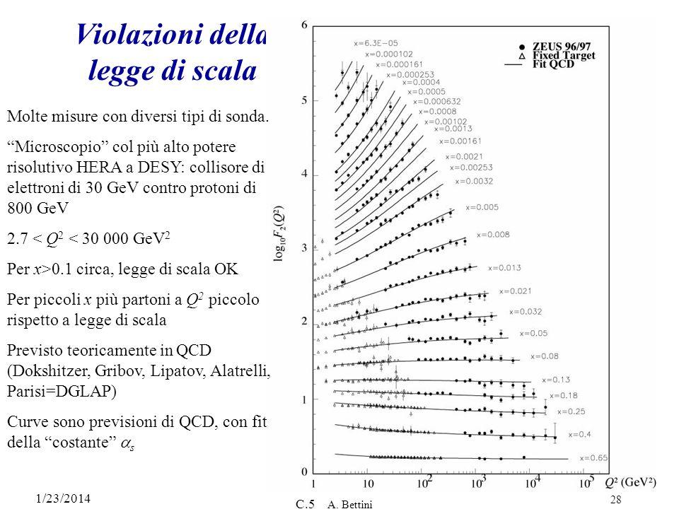 1/23/2014 C.5 A.Bettini 28 Violazioni della legge di scala Molte misure con diversi tipi di sonda.