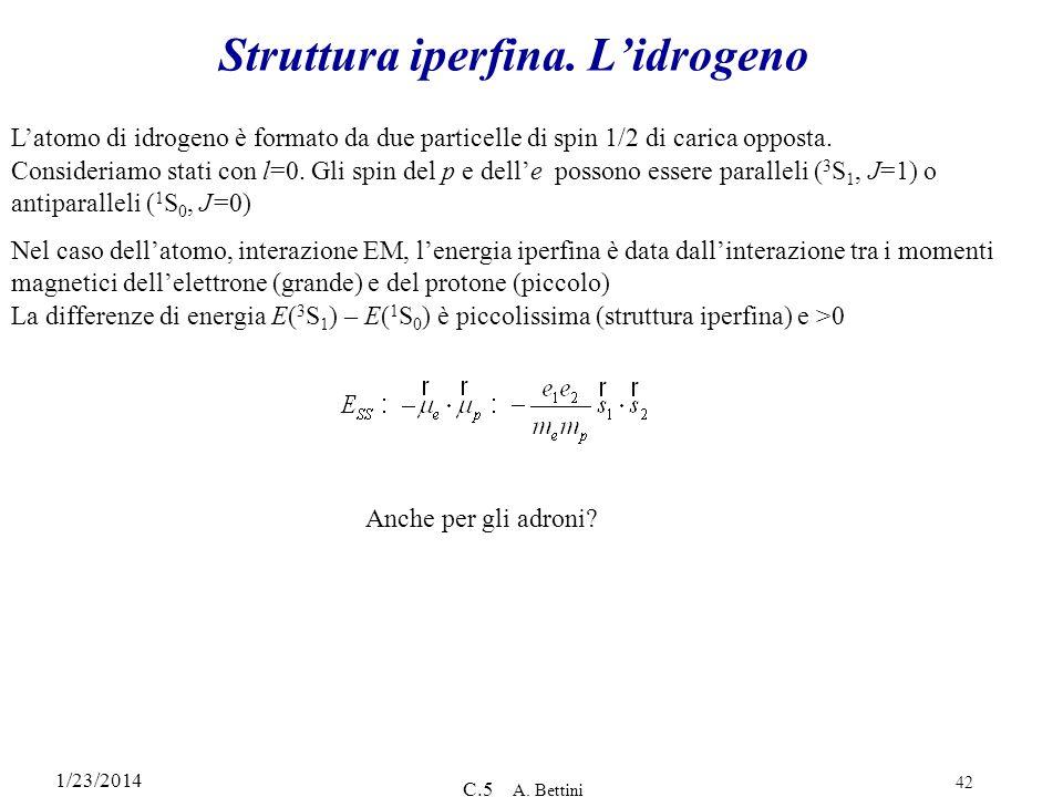 1/23/2014 C.5 A. Bettini 42 Struttura iperfina. Lidrogeno Latomo di idrogeno è formato da due particelle di spin 1/2 di carica opposta. Consideriamo s