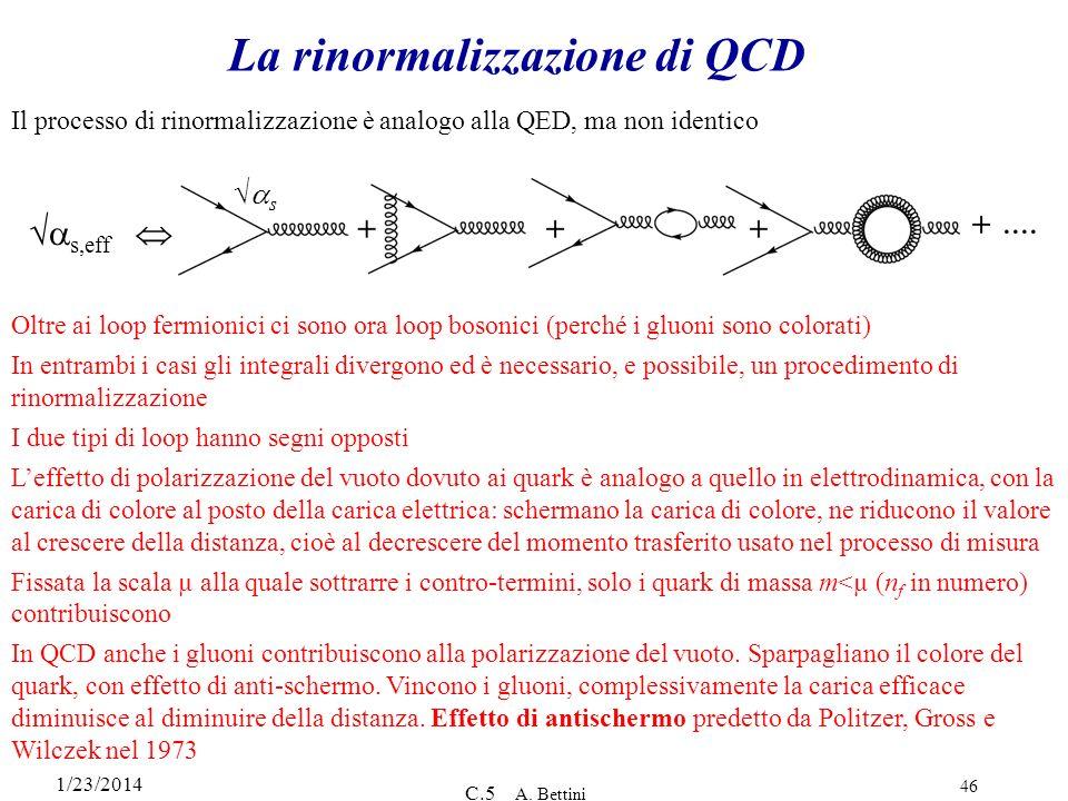 1/23/2014 C.5 A. Bettini 46 La rinormalizzazione di QCD s,eff s Il processo di rinormalizzazione è analogo alla QED, ma non identico Oltre ai loop fer