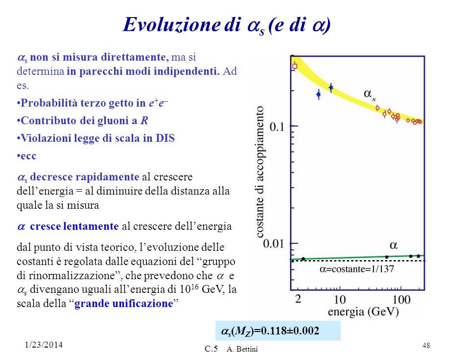 1/23/2014 C.5 A. Bettini 48 Evoluzione di s (e di ) s non si misura direttamente, ma si determina in parecchi modi indipendenti. Ad es. Probabilità te