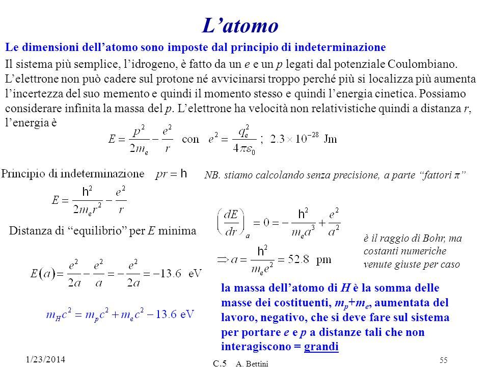 1/23/2014 C.5 A. Bettini 55 Latomo Le dimensioni dellatomo sono imposte dal principio di indeterminazione Il sistema più semplice, lidrogeno, è fatto