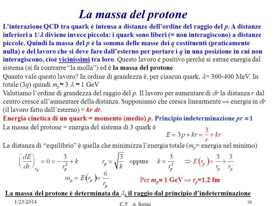 1/23/2014 C.5 A. Bettini 56 La massa del protone Linterazione QCD tra quark è intensa a distanze dellordine del raggio del p. A distanze inferiori a 1