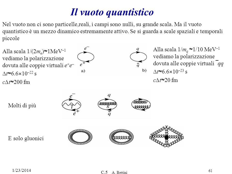 1/23/2014 C.5 A. Bettini 61 Il vuoto quantistico Nel vuoto non ci sono particelle,reali, i campi sono nulli, su grande scala. Ma il vuoto quantistico