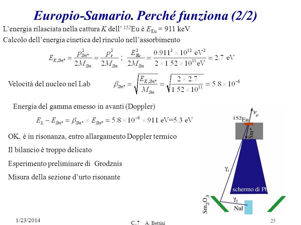1/23/2014 C.7 A. Bettini 25 Europio-Samario. Perché funziona (2/2) Lenergia rilasciata nella cattura K dell 152 Eu è E Eu = 911 keV Calcolo dellenergi