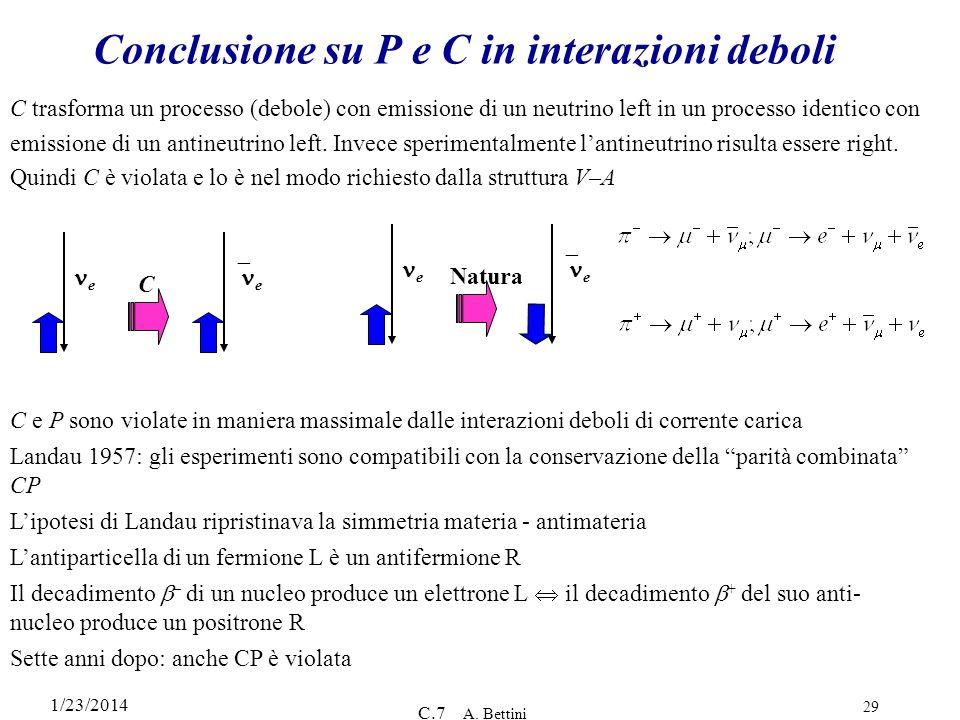 1/23/2014 C.7 A. Bettini 29 Conclusione su P e C in interazioni deboli C trasforma un processo (debole) con emissione di un neutrino left in un proces