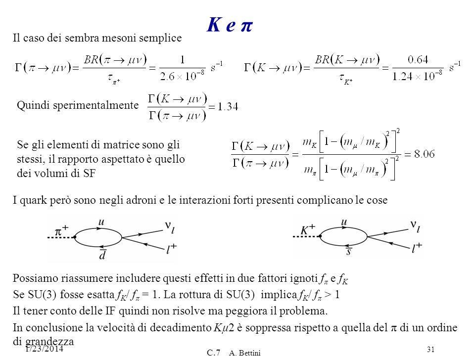 1/23/2014 C.7 A. Bettini 31 K e π Il caso dei sembra mesoni semplice Quindi sperimentalmente Se gli elementi di matrice sono gli stessi, il rapporto a