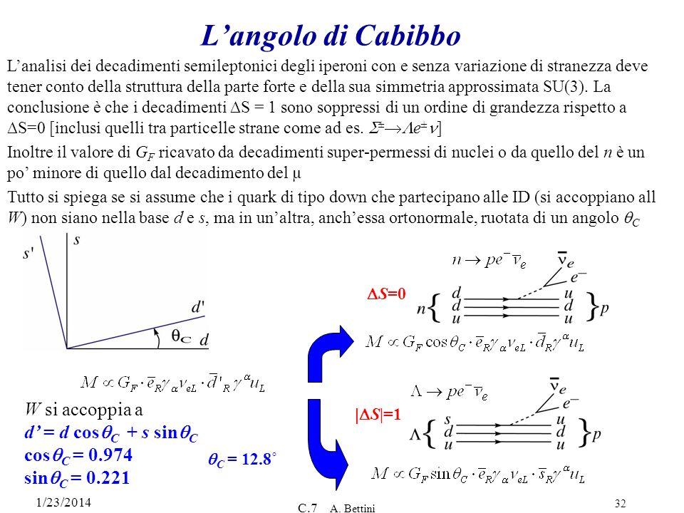 1/23/2014 C.7 A. Bettini 32 Langolo di Cabibbo Lanalisi dei decadimenti semileptonici degli iperoni con e senza variazione di stranezza deve tener con