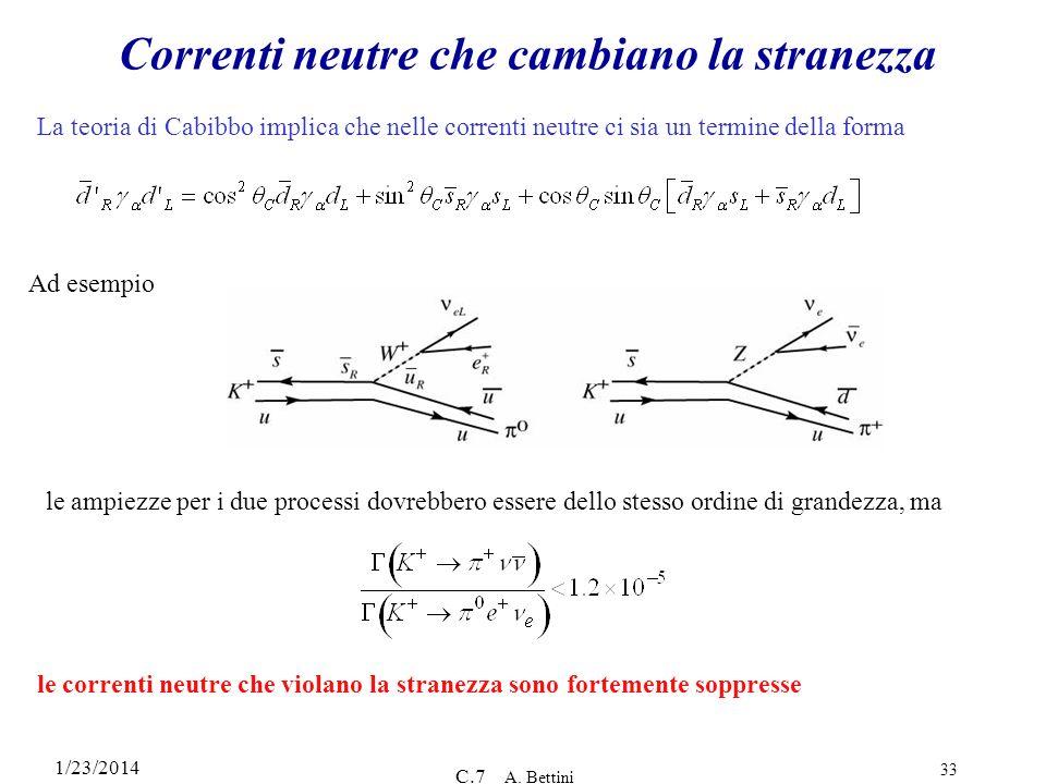 1/23/2014 C.7 A. Bettini 33 Correnti neutre che cambiano la stranezza La teoria di Cabibbo implica che nelle correnti neutre ci sia un termine della f