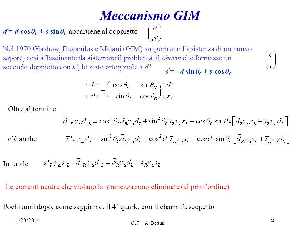 1/23/2014 C.7 A. Bettini 34 Meccanismo GIM s = –d sin C + s cos C d = d cos C + s sin C appartiene al doppietto Nel 1970 Glashow, Iliopoulos e Maiani