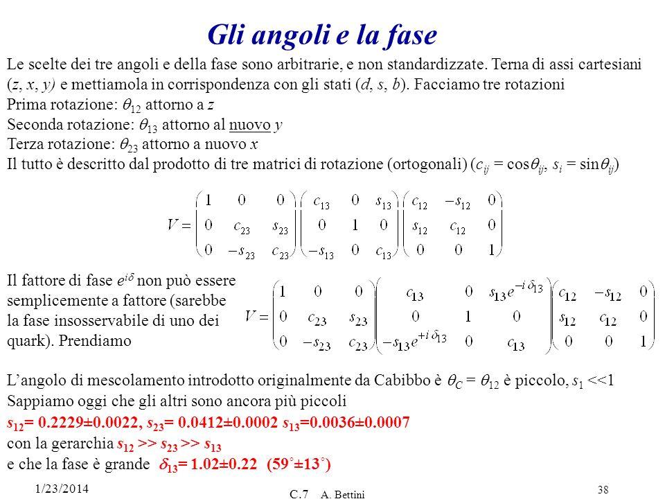 1/23/2014 C.7 A. Bettini 38 Gli angoli e la fase Le scelte dei tre angoli e della fase sono arbitrarie, e non standardizzate. Terna di assi cartesiani