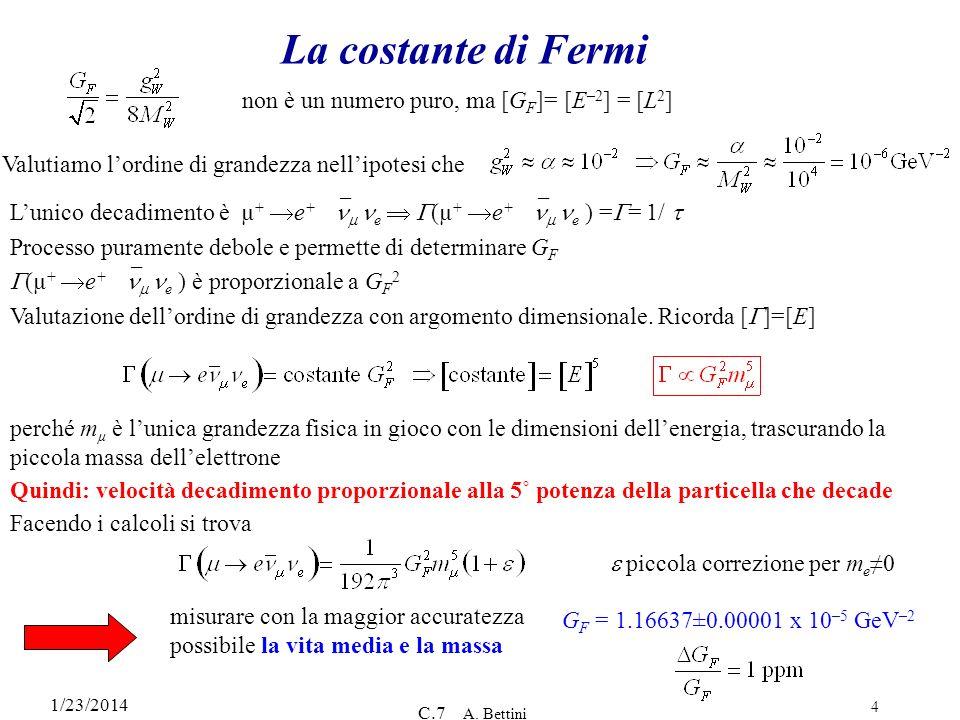 1/23/2014 C.7 A. Bettini 4 La costante di Fermi non è un numero puro, ma [G F ]= [E –2 ] = [L 2 ] Valutiamo lordine di grandezza nellipotesi che Lunic