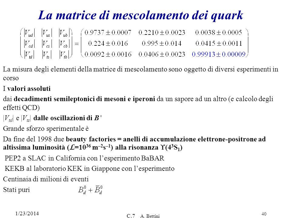1/23/2014 C.7 A. Bettini 40 La matrice di mescolamento dei quark La misura degli elementi della matrice di mescolamento sono oggetto di diversi esperi