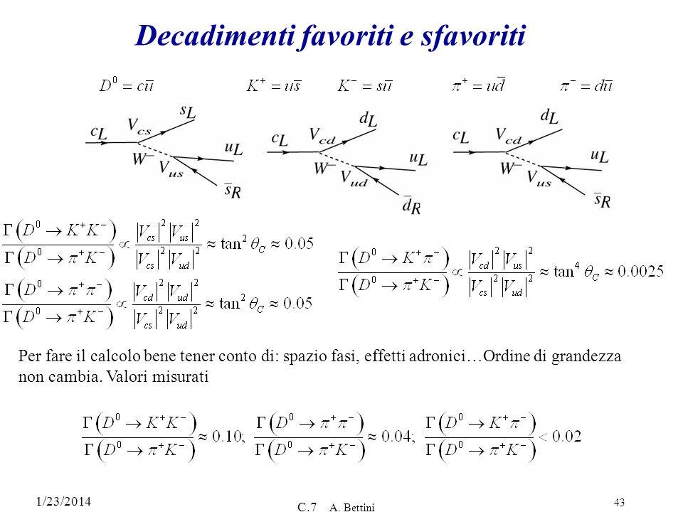 1/23/2014 C.7 A. Bettini 43 Decadimenti favoriti e sfavoriti Per fare il calcolo bene tener conto di: spazio fasi, effetti adronici…Ordine di grandezz