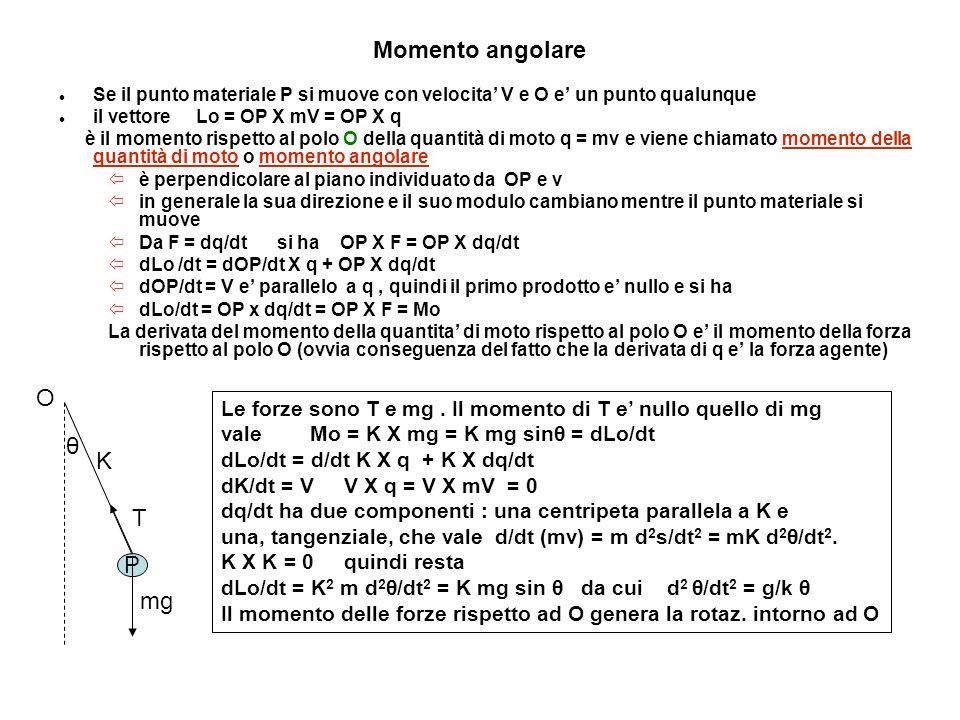Momento angolare Se il punto materiale P si muove con velocita V e O e un punto qualunque il vettore Lo = OP X mV = OP X q è il momento rispetto al po