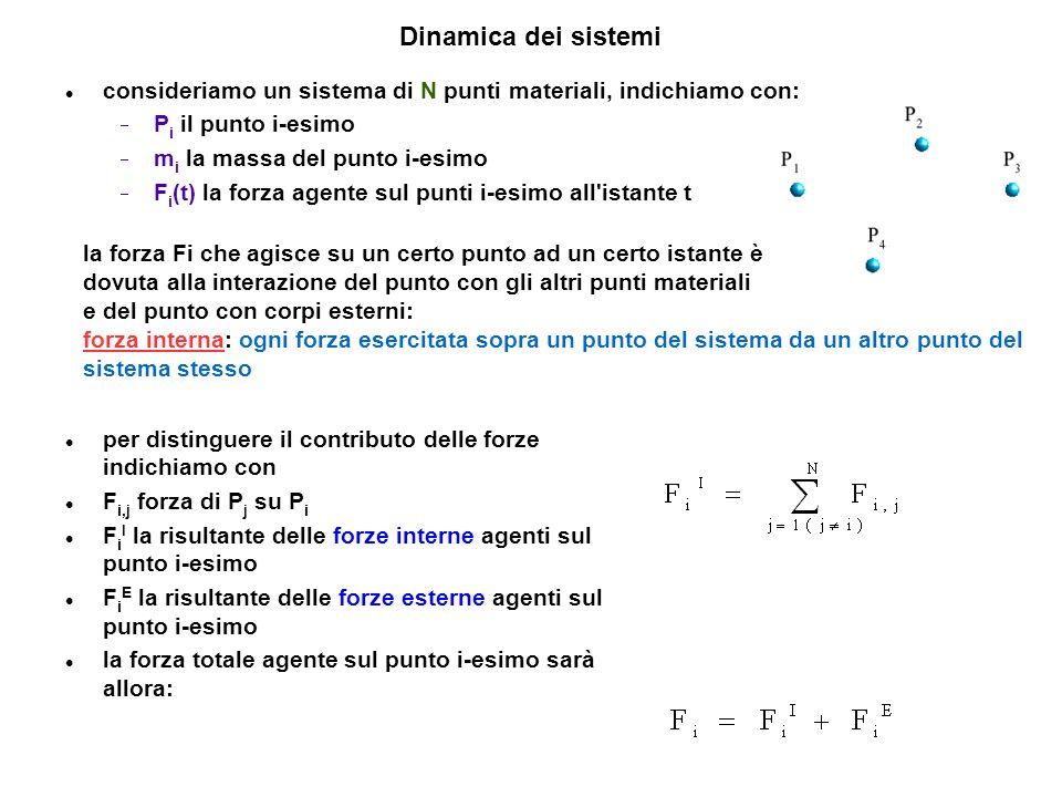 Forze interne ed esterne se consideriamo la forza che il punto P i esercita sul punto P j, dal principio di azione-reazione ricaviamo che otteniamo: ad ogni istante la risultante di tutte le forze interne agenti in un sistema materiale è nulla l equazione del moto del punto Pi è: Che dipende dalle forze interne ed esterne agenti su i.