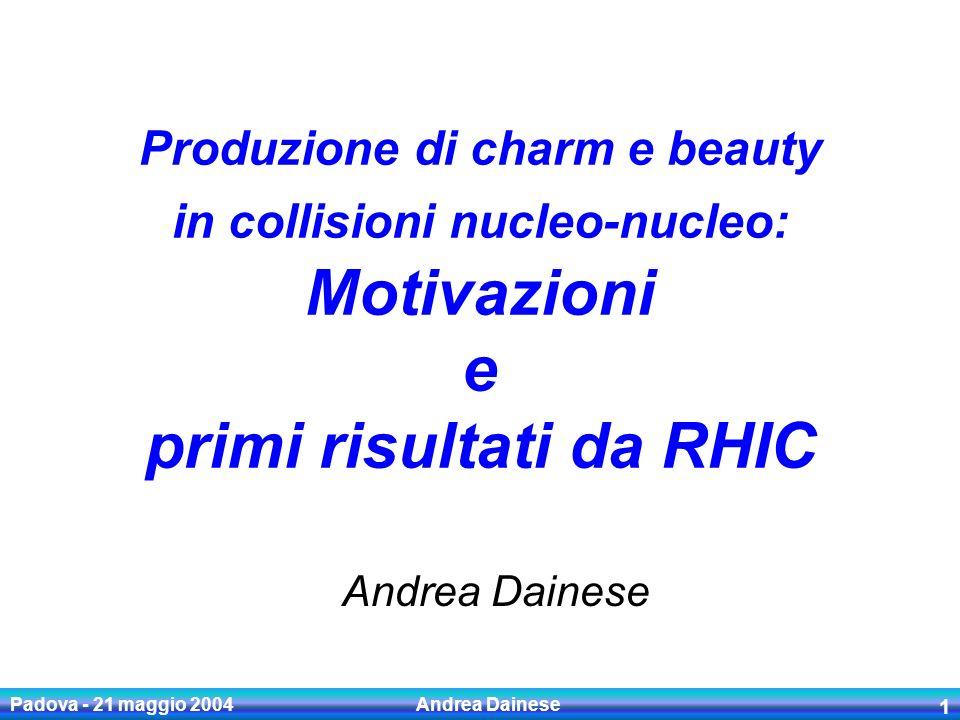 Padova - 21 maggio 2004 Andrea Dainese 12 ALICE a LHC (prossimo talk) LHC: sezioni durto piu elevate di un fattore ~10 per il charm e ~100 per il beauty ALICE: rivelatori ottimizzati per la ricostruzione di D e B in ambiente ad alta molteplicita Ricco programma di fisica di c & b in collisioni pp, p-nucleo e nucleo-nucleo