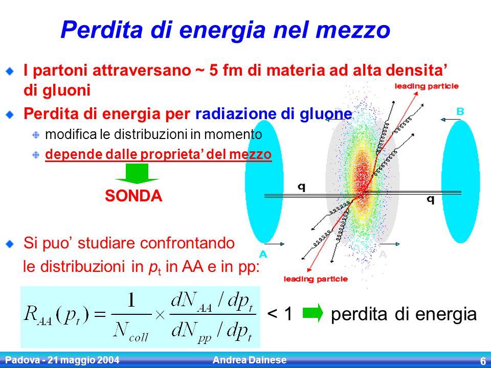 Padova - 21 maggio 2004 Andrea Dainese 7 Jet quenching in Au-Au 200 GeV -RHIC PHENIX Collab.