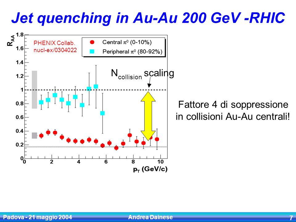 Padova - 21 maggio 2004 Andrea Dainese 8 Q Perdita di energia per gli heavy quark.