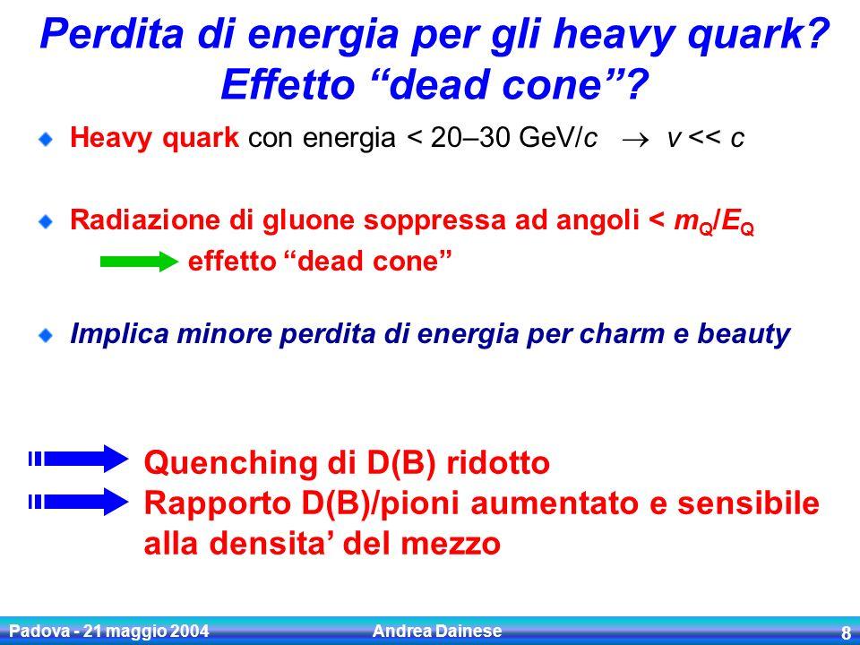 Padova - 21 maggio 2004 Andrea Dainese 9 Misure di open charm a RHIC Esperimenti di RHIC non hanno rivelatori dedicati alla ricostruzione dei vertici secondari In pp e d-Au (bassa molteplicita): open charm nei canali esclusivi via massa invariante In Au-Au (elevato fondo: dN ch /dy ~ 750!): open charm nei canali semi-elettronici: identificazione elettroni (EM cal.) sottrazione contributi fondi: conversioni, decadimenti mesoni leggeri distribuzione in p t elettroni da D