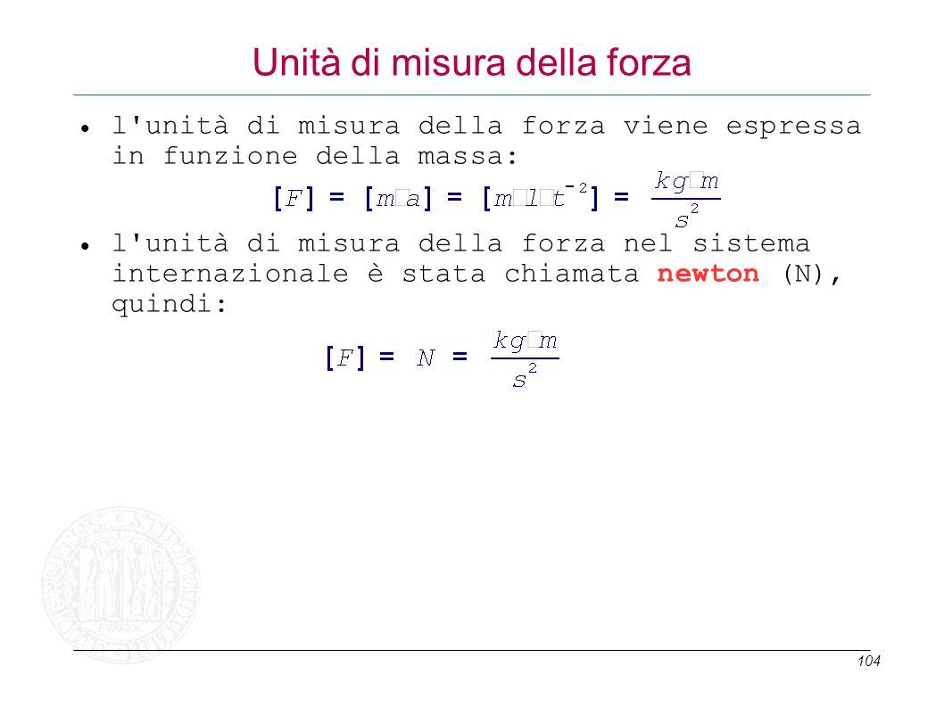 104 Unità di misura della forza l'unità di misura della forza viene espressa in funzione della massa: l'unità di misura della forza nel sistema intern