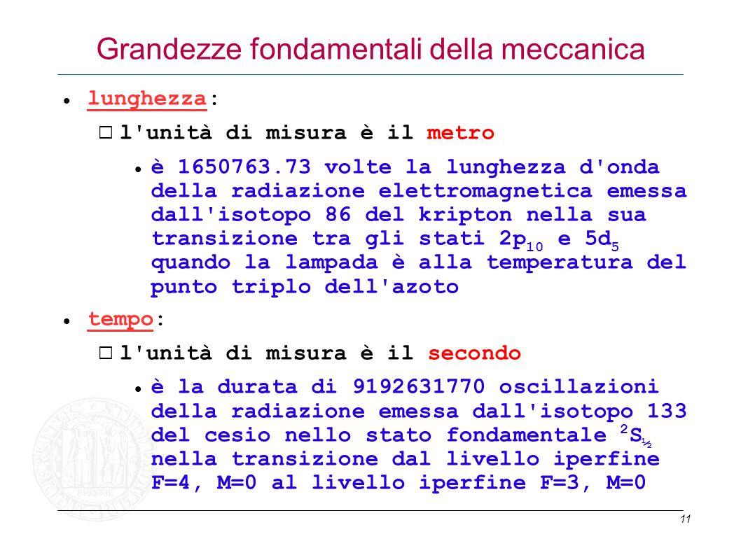 11 Grandezze fondamentali della meccanica lunghezza: l'unità di misura è il metro è 1650763.73 volte la lunghezza d'onda della radiazione elettromagne