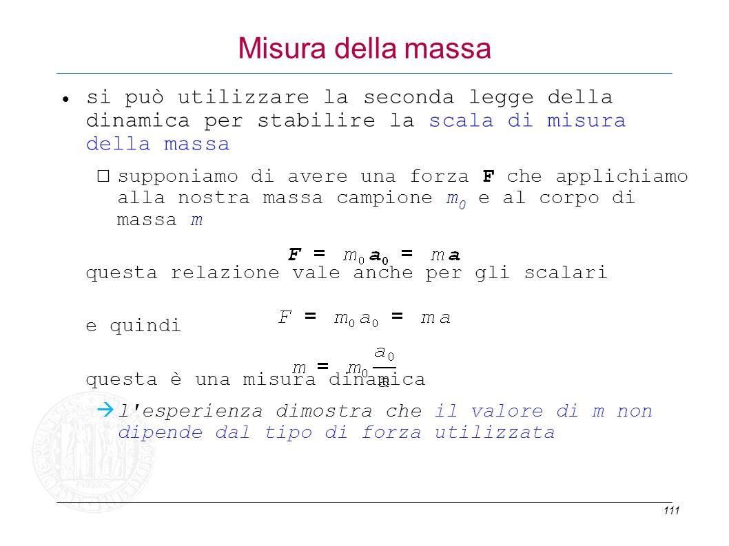 111 Misura della massa si può utilizzare la seconda legge della dinamica per stabilire la scala di misura della massa supponiamo di avere una forza F