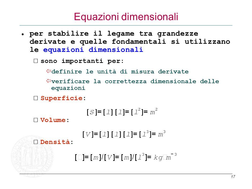 17 Equazioni dimensionali per stabilire il legame tra grandezze derivate e quelle fondamentali si utilizzano le equazioni dimensionali sono importanti