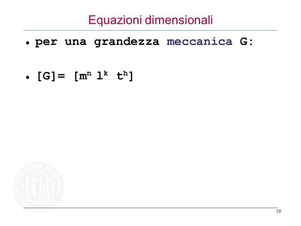 18 Equazioni dimensionali per una grandezza meccanica G: [G]= [m n l k t h ]